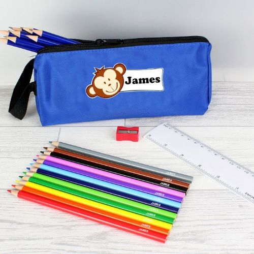 Blue Monkey Pencil Case & Personalised Content